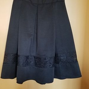 NWT Black skirt with lace inset